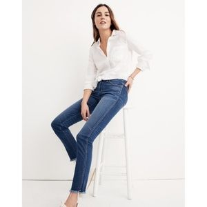Madewell High Rise Slim Straight Jeans Raw Hem 31